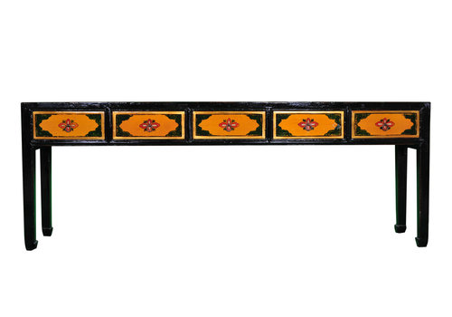 Fine Asianliving Chinese Console Table Handpainted Yellow Black W216xD45xH79cm