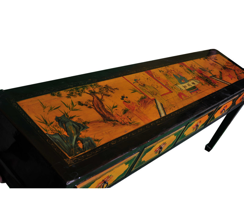Chinese Console Table Handpainted Yellow Black W216xD45xH79cm
