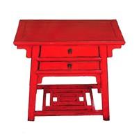 Antieke Chinese Bijzettafel Rood B86xD42xH80cm