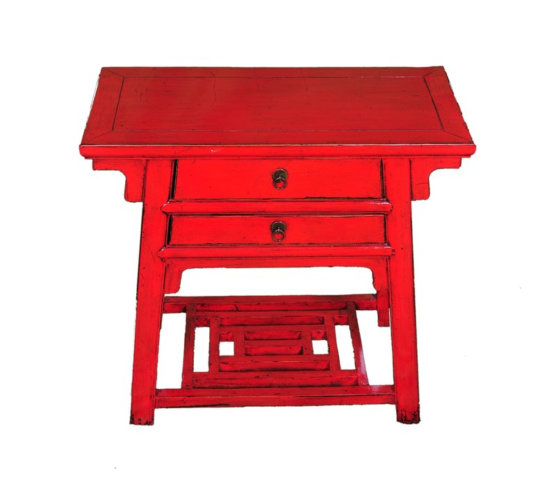 Table Console Antique Chinoise Rouge L86xP42xH80cm