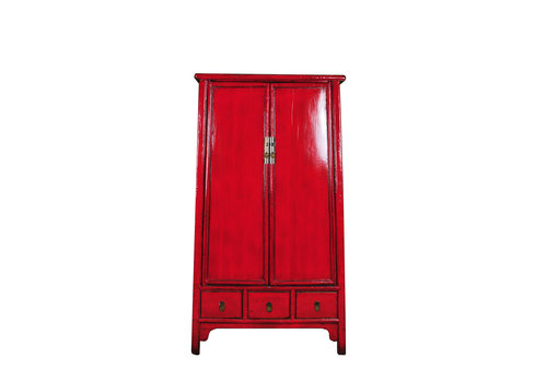 Fine Asianliving Antique Chinese Bridal Cabinet Red W107xD47xH193cm