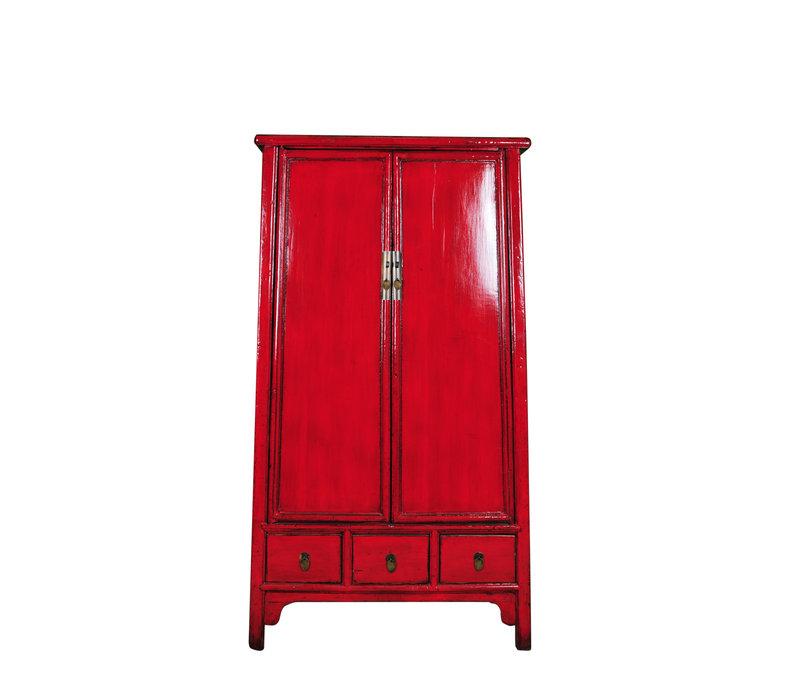Armoire de Mariage Chinoise Antique Rouge L107xP47xH193cm