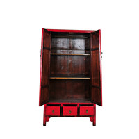 Armario de Boda Chino Antiguo Rojo Anch.107 x Prof.47 x Alt.193 cm