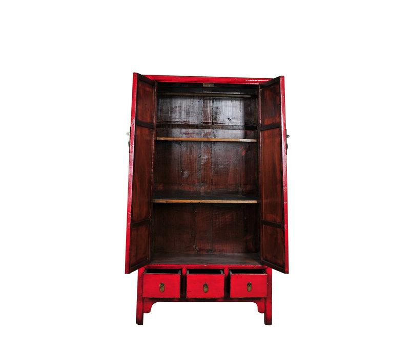 Antieke Chinese Kast Rood B107xD47xH193cm