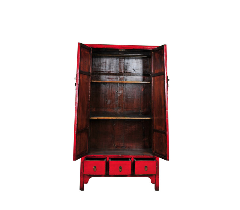 Antique Chinese Bridal Cabinet Red W107xD47xH193cm