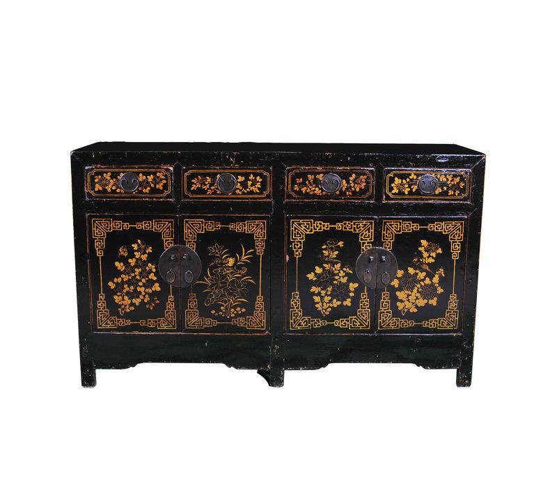 Antiek Chinees Dressoir Handbeschilderd Zwart Goud B161xD55xH97cm