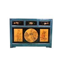 Aparador Chino Antiguo Paisaje Pintado a Mano Cerceta Anch.120 x Prof.40 x Alt.85 cm