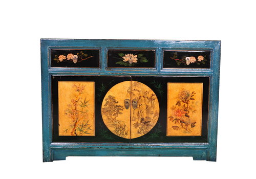 Fine Asianliving Antique Chinese Sideboard Handpainted Scenery Teal W120xD40xH85cm