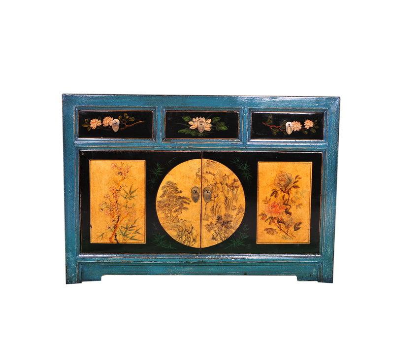 Credenza Cinese Antica Paesaggio Dipinto a Mano Turchese L120xP40xA85cm