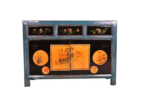 Fine Asianliving Antique Chinese Sideboard Handpainted Lotus Teal W120xD40xH85cm