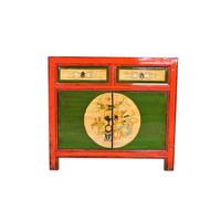 Antiek Chinese Dressoir Handgeschilderd Rood B95xD40xH85cm