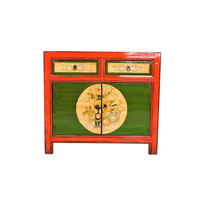 Antique Chinese Sideboard Handpainted Red W95xD40xH85cm