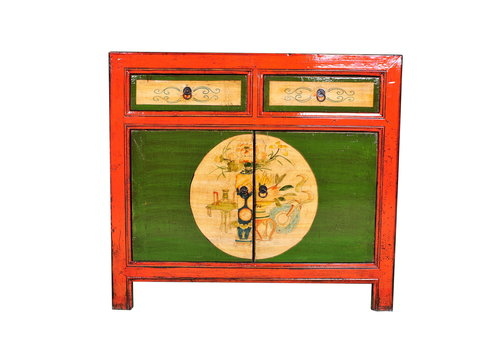 Fine Asianliving Antique Chinese Sideboard Hand-painted Red W95xD40xH85cm