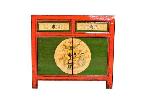Fine Asianliving Aparador Chino Antiguo Pintado a Mano Rojo Anch.95 x Prof.40 x Alt.85 cm