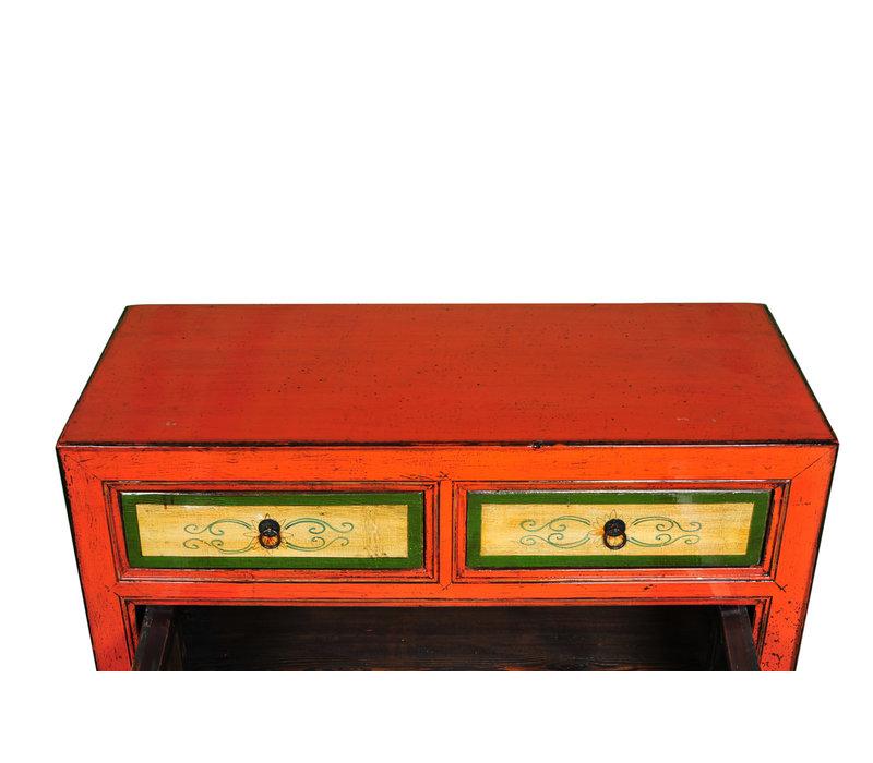 Antieke Chinese Dressoir Handgeschilderd Rood B95xD40xH85cm