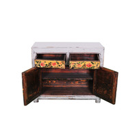Antique Chinese Sideboard Handpainted Flowers White W100xD40xH85cm