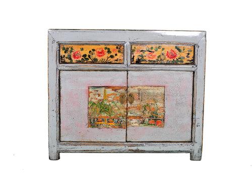 Fine Asianliving Antikes Chinesisches Sideboard Kommode Handbemalte Blumen Weiß B100xT40xH85cm