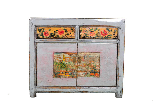 Fine Asianliving Antique Chinese Sideboard Hand-painted Flowers White W100xD40xH85cm