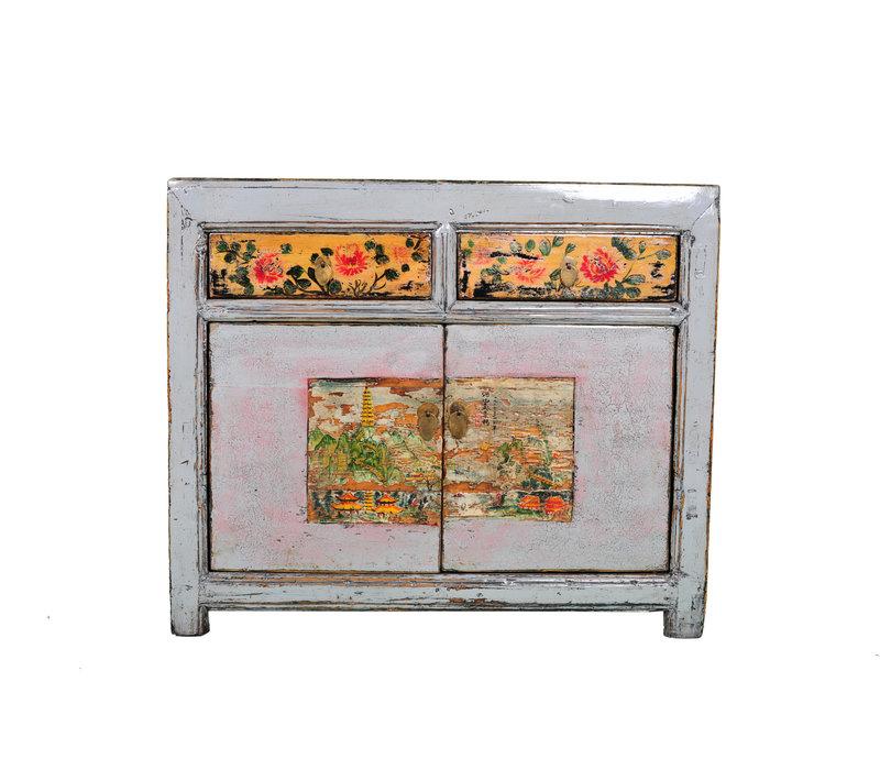 Credenza Cinese Antica Fiori Dipinti a Mano Bianca L100xP40xA85cm