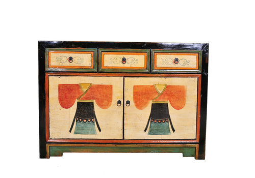 Fine Asianliving Antique Chinese Sideboard Handpainted Kimono W120xD40xH85cm
