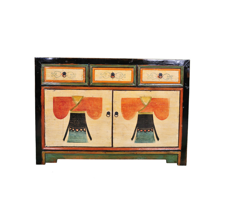 Antique Chinese Sideboard Handpainted Kimono W120xD40xH85cm