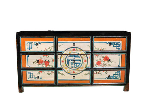 Fine Asianliving Antique Chinese Chest of Drawers Handpainted Luck W160xD40xH86cm