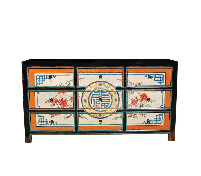 Antiek Chinese Ladekast Handgeschilderd Geluk B160xD40xH86cm