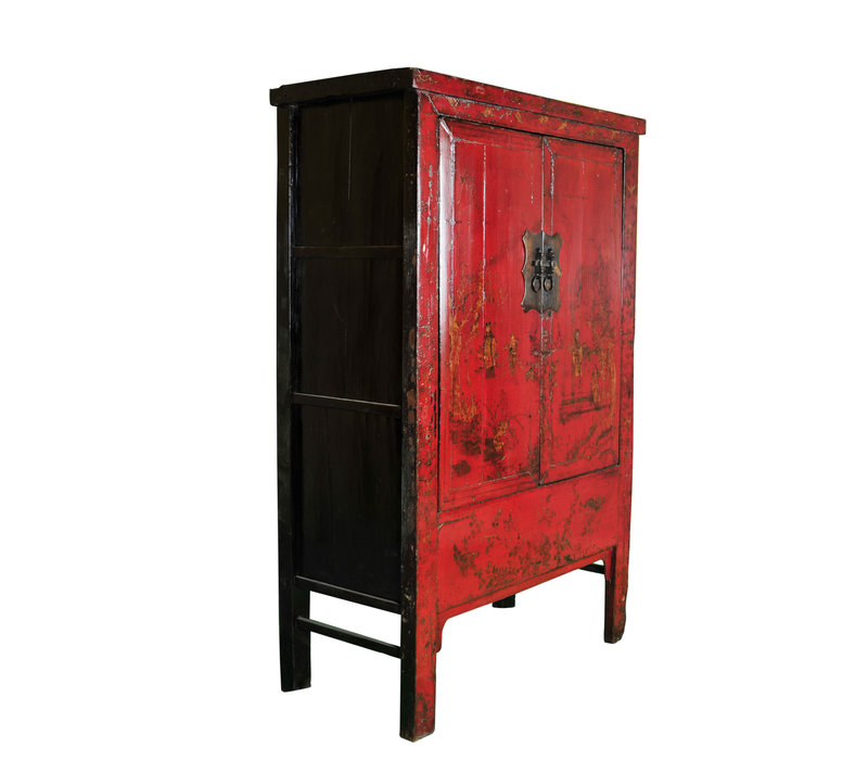 Antique Chinese Wedding Cabinet Red Handpainted W118xD55xH185cm