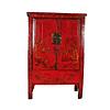 Fine Asianliving Antieke Chinese Bruidskast Rood Handbeschilderd B118xD55xH185cm