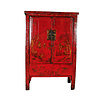 Fine Asianliving Antique Chinese Bridal Cabinet Red Handpainted W118xD55xH185cm