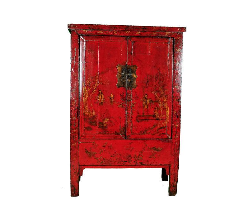 Antieke Chinese Bruidskast Rood Handbeschilderd B118xD55xH185cm