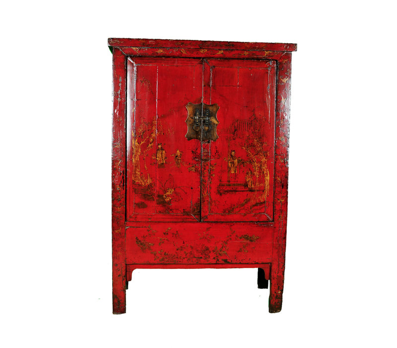 Antique Chinese Bridal Cabinet Red Handpainted W118xD55xH185cm