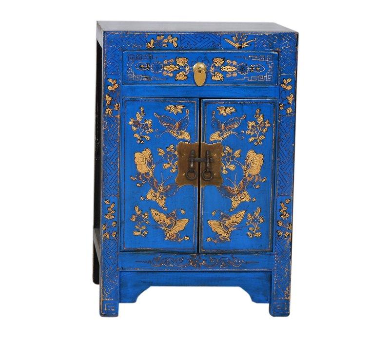 Armario Chino Mariposas Pintadas a Mano Azul Anch.58 x Prof.37 x Alt.85 cm