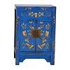 Fine Asianliving Armoire Chinoise L58xP37xH85cm Papillons peints à la Main Bleu