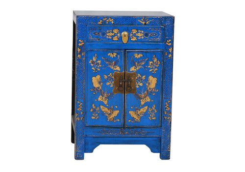 Fine Asianliving Armoire Chinoise Papillons Peints àla Main Bleu L58xP37xH85cm