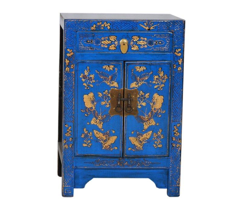 Chinese Kast B58xD37xH85cm Handgeschilderde Vlinders Blauw Groot