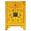 Fine Asianliving Chinese Nachtkastje Geel Handgeschilderde Vlinders B40xD32xH60cm