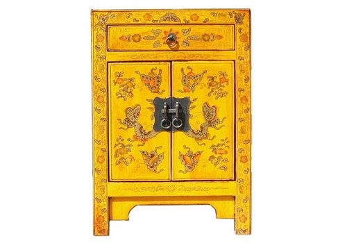 Fine Asianliving Chinese Bedside Table W40xD32xH60cm Handpainted Butterflies Yellow