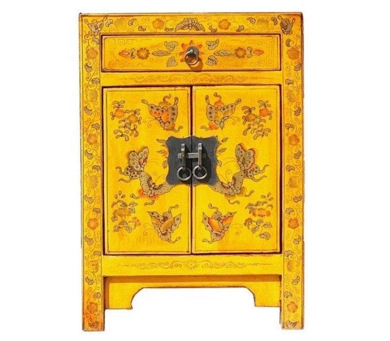Chinese Nachtkastje Geel Handgeschilderde Vlinders B40xD32xH60cm