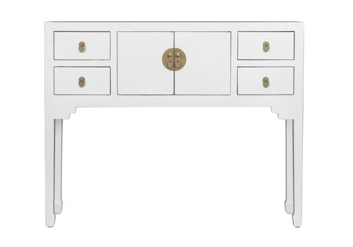 Fine Asianliving Console Chinoise Blanc - Orientique Collection L100xP26xH80cm