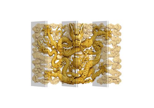 Fine Asianliving Biombo Separador de Lienzo 6 Paneles Dragón Anch.240 x Alt.180 cm