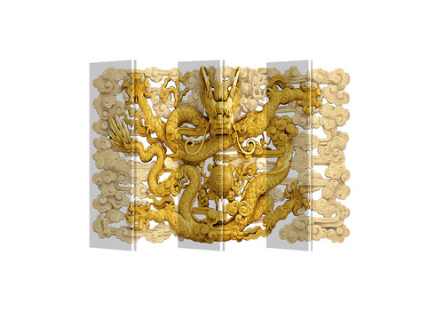 Fine Asianliving Room Divider Privacy Screen 6 Panel Dragon W240xH180cm