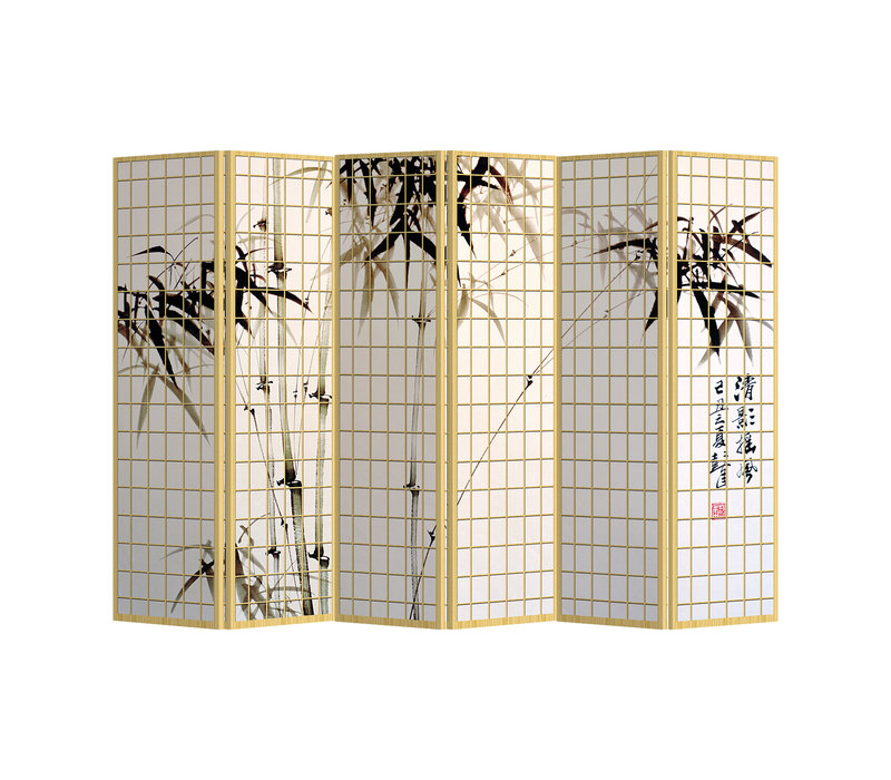 PREORDER 21/09 Fine Asianliving Biombos Separador de Habitaciones 6 Paneles Lona De Doble Cara Bamboo L240xH180cm