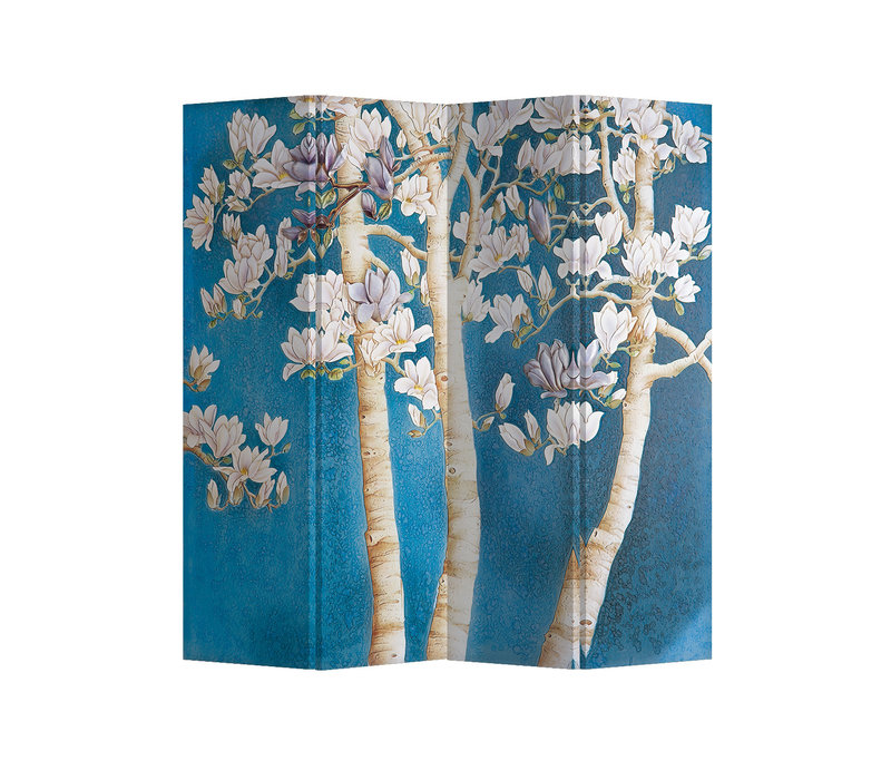 Fine Asianliving Biombos  Separador de Habitaciones 4 Paneles Lona De Doble Cara Blossom Trees L160xH180cm