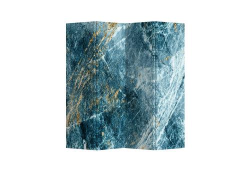Fine Asianliving Paravent Raumteiler Trennwand 4-teilig Marmor Himmelblau B160xH180cm