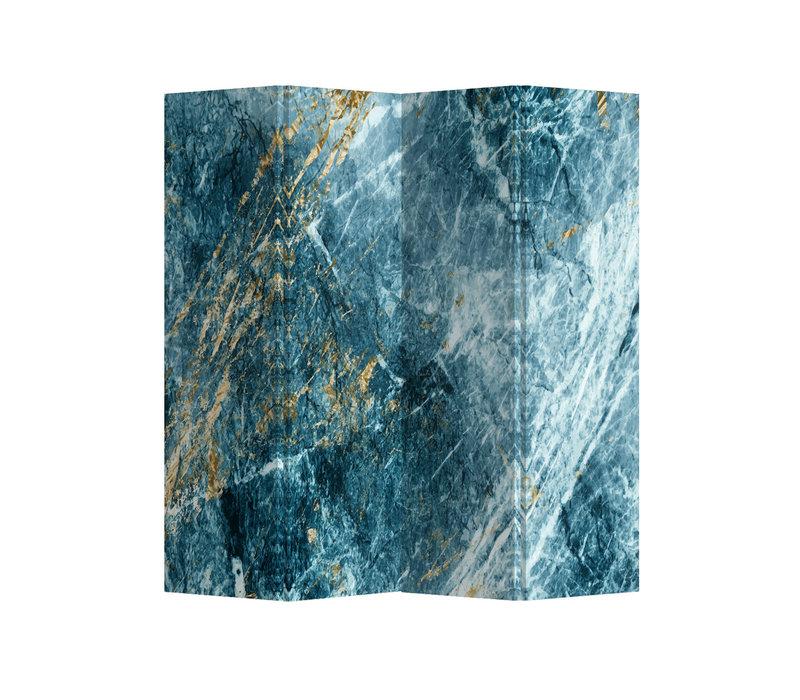 Raumteiler Trennwand B160xH180cm 4-teilig Marmor Himmelblau