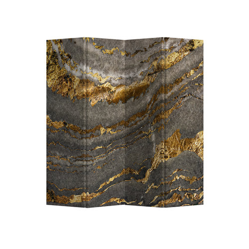 Fine Asianliving Room Divider Privacy Screen 4 Panel Marble Earth L160xH180cm