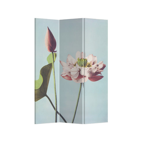 Fine Asianliving Room Divider Privacy Screen 3 Panel Retro Lotus L120xH180cm