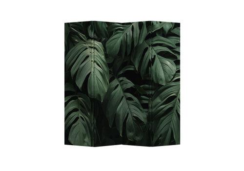 Fine Asianliving Biombos  Separador de Habitaciones 4 Paneles Lona De Doble Cara Botanic Leaves L160xH180cm