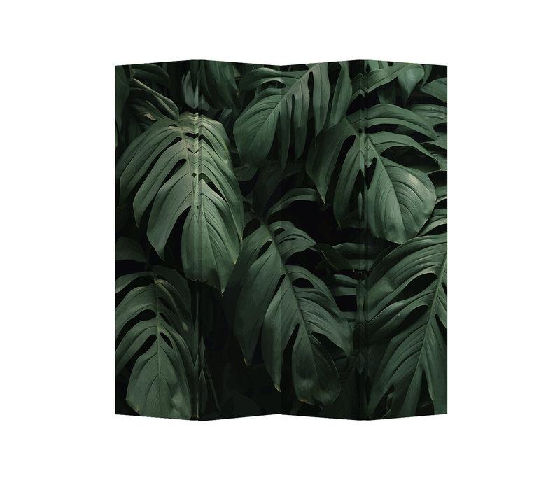 Fine Asianliving Paravento Divisori Tela 4 Pannelli Pieghevole Separatore Botanic Leaves L160xH180cm